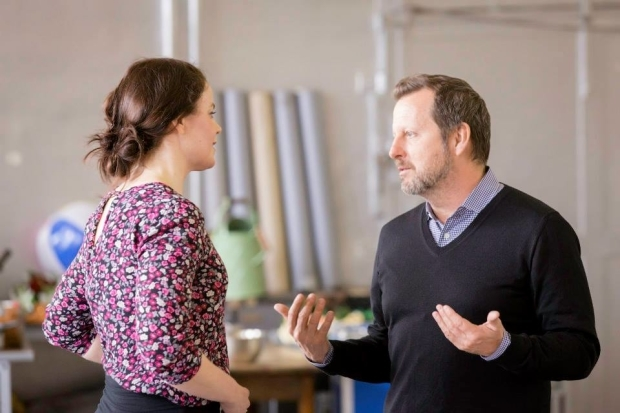 <p>Melle Stewart (Alice) and director Rob Ashford</p><br />© Johan Persson