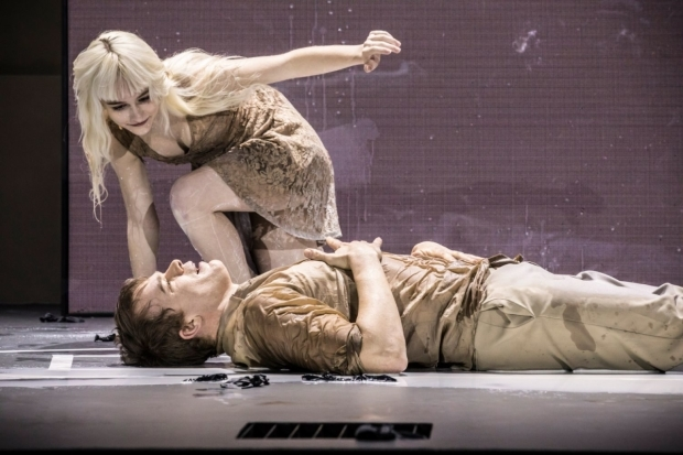 <p>Michael C Hall (Newton) and Sophia Anne Caruso (Girl)</p><br />© Johan Persson