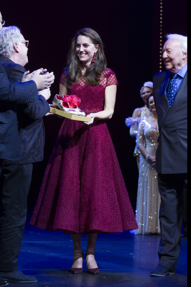 <p>Michael Grade (Producer) and Catherine, Duchess of Cambridge during the curtain call</p><br />© Dan Wooller