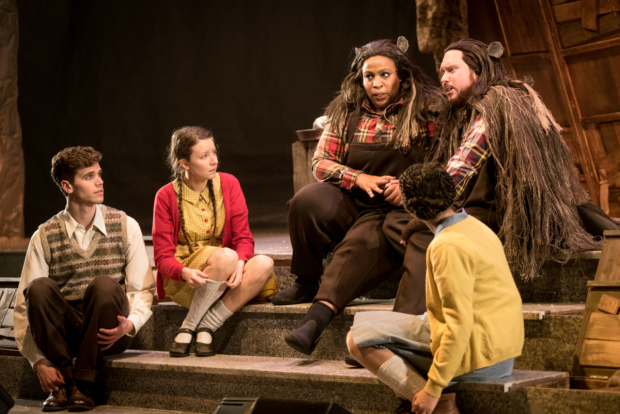 <p>Michael Lanni (Peter), Emilie Flemming (Lucy), Sophia Nomvete (Mrs Beaver), Thomas Aldridge (Mr Beaver) and Leonie Elliot (Susan) in <em>The Lion, The Witch and the Wardrobe</em></p><br />© Graeme Braidwood