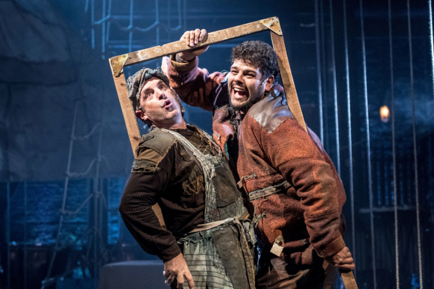 <p>Michael Matus and Marc Akinfolarin in <em>Peter and the Starcatcher</em></p><br />© Manuel Harlan