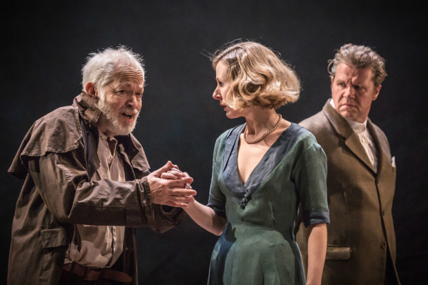 <p>Michael Pennington as Lear, Sally Scott as Regan and Shane Attwooll as Cornwall in <em>King Lear</em></p><br />© Marc Brenner