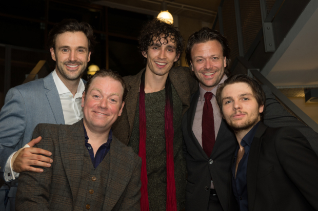 <p>Michael Xavier, Rufus Hound, Robert Sheehan, Kåre Conradi and James de Lauch Hay</p><br />© Trevor Aston