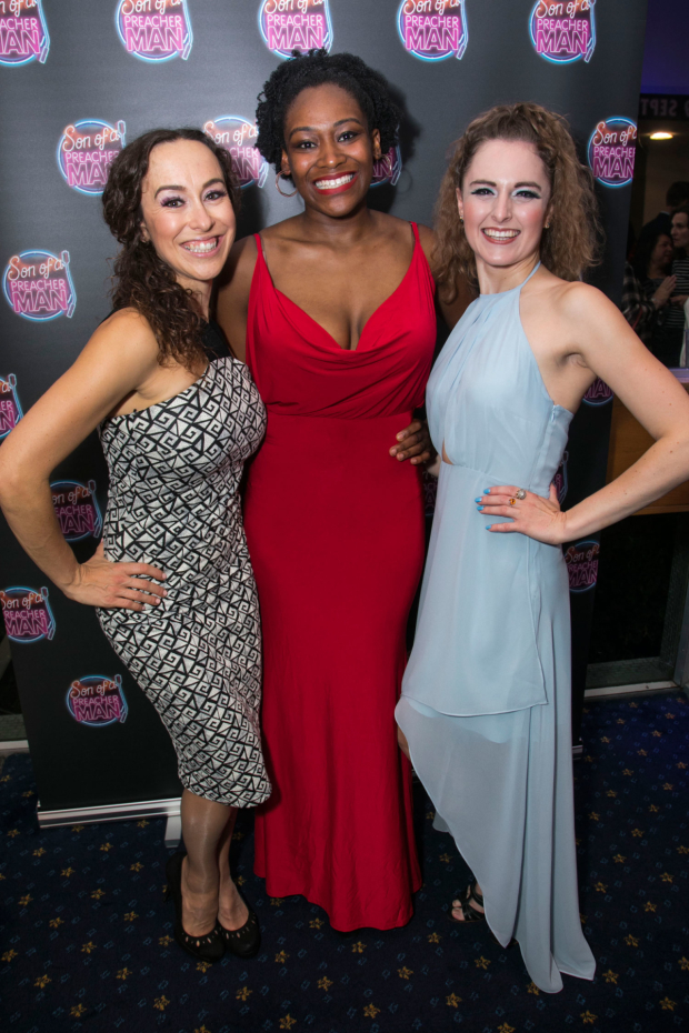 <p>Michelle Long (Cappuccino Sister One), Cassiopeia Berkeley-Agyepong (Cappuccino Sister Three) and Kate Hardisty (Cappuccino Sister two)</p><br />© Dan Wooller for WhatsOnStage