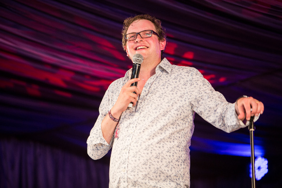 <p>Miles Jupp in the comedy tent</p><br />© Alex de Mora