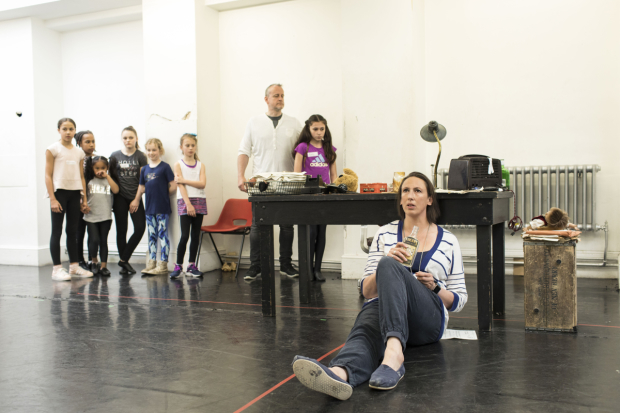 <p>Miranda Hart in rehearsals for <em>Annie</em></p><br />© Helen Maybanks