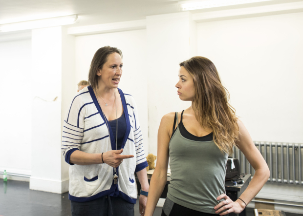<p>Miranda Hart and Djalenga Scott in rehearsals for <em>Annie</em></p><br />© Helen Maybanks