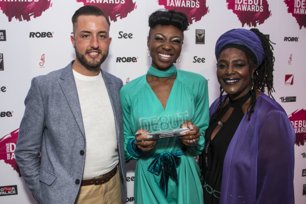 <p>Miriam-Teak Lee accepts the Award for Best Actress in a Musical, presented by Paul Taylor-Mills and Sharon D Clarke</p><br />© All images are copyright Dan Wooller, 2017