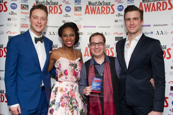 <p><em>Mormons</em> Stephen Ashfield, Alexia Khadime, Jared Gertner and Gavin Creel celebrate <em>The Book of Mormon</em> winning Best New Musical</p><br />© Dan Wooller for WhatsOnStage