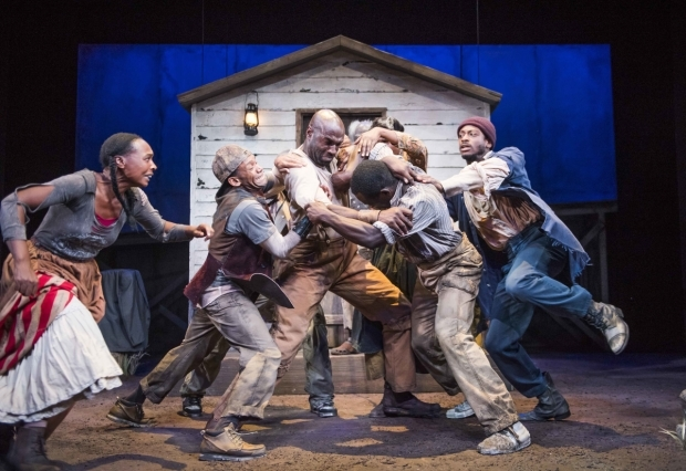 <p>Nadine Marshall (Penny), Jason Pennycooke (Second), Steve Toussaint (Hero), Jimmy Akingbola (Homer), Leo Wringer (The Oldest Old Man), Sarah Niles (Third) and Dex Lee (Odyssey Dog)</p><br />© Tristram Kenton