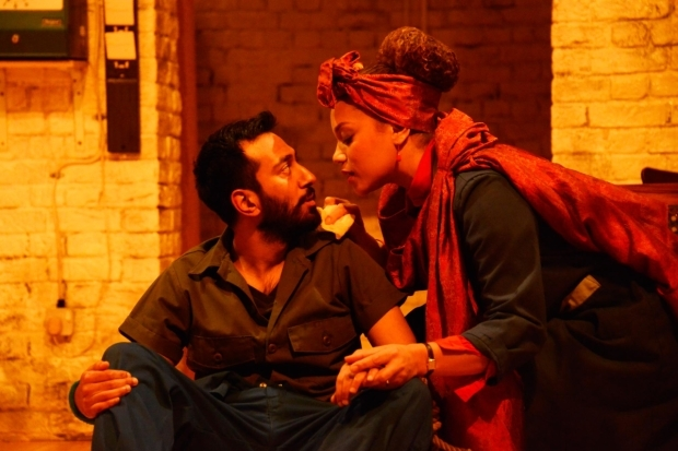 <p>Naeem Hayat as Aurangzeb and Angela Griffin as Nourmahal in <em>The Captive Queen</em></p><br />©Nobby Clark