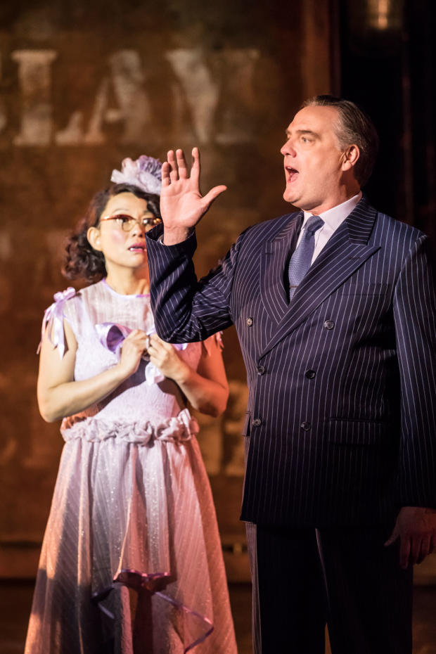 <p>Naoko Mori and Mark Heenehan as Lucy Schmeeler and The Judge in <em>On the Town</em></p><br />© Johan Persson