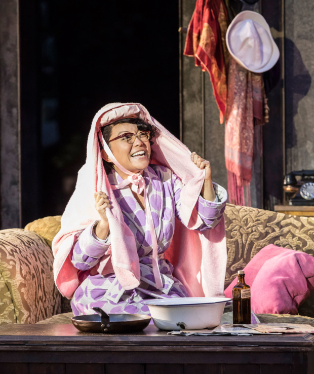 <p>Naoko Mori as Lucy Schmeeler in <em>On the Town</em></p><br />© Johan Persson