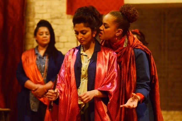 <p>Neerja Naik as Indamora and Angela Griffin as Nourmahal  in <em>The Captive Queen</em></p><br />©Nobby Clark