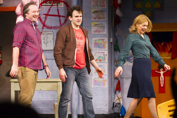 <p>Neil Pearson, Harry Melling and Janie Dee</p><br />© Dan Wooller