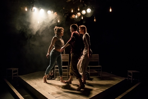 <p>Niall Bishop, Tanya Fear and Eva-Jane Willis in <em>Tiny Dynamite</em> </p><br />©The Other Richard