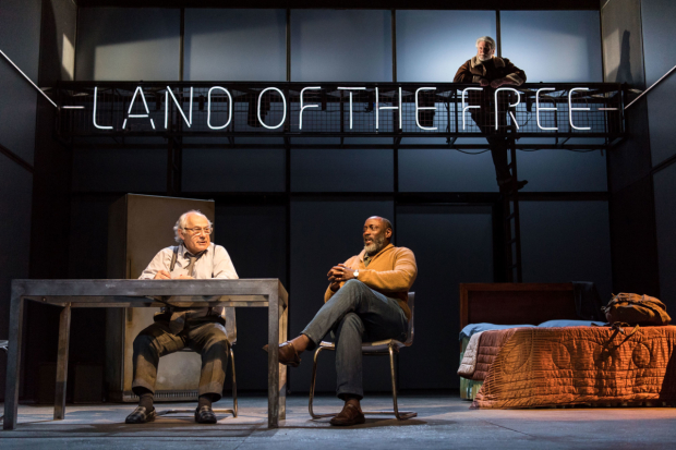 <p>Nicholas Woodeson, Geff Francis and Mitchell Mullen in <em>Death of a Salesman</em></p><br />© Manuel Harlan