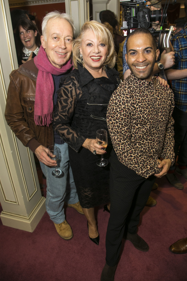 <p>Nickolas Grace, Elaine Paige (Queen Rat) and Lukus Alexander (Eileen the Cat)</p><br />© Dan Wooller