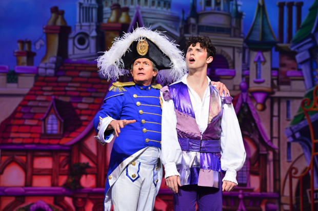 <p>Nigel Havers as Captain Nigel and Charlie Stemp as Dick Whittington</p><br />© Paul Coltas