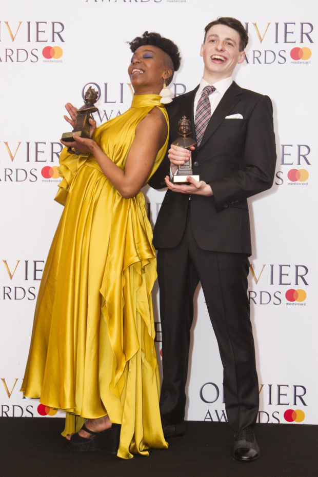 <p>Noma Dumezweni with the award for Best Actress in a Supporting Role and Anthony Boyle with the award for Best Actor in a Supporting Role for <em>Harry Potter and the Cursed Child</em> at Palace Theatre</p><br />© Dan Wooller for WhatsOnStage