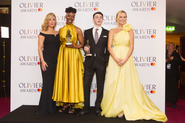 <p>Noma Dumezweni with the award for Best Actress in a Supporting Role and Anthony Boyle with the award for Best Actor in a Supporting Role for <em>Harry Potter and the Cursed Child</em> at Palace Theatre, presented by Tracy-Ann Oberman and Amanda Holden</p><br />© Dan Wooller for WhatsOnStage