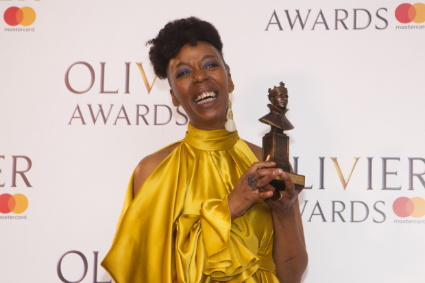 <p>Noma Dumezweni with the award for Best Actress in a Supporting Role  for <em>Harry Potter and the Cursed Child</em> at Palace Theatre</p><br />© Dan Wooller for WhatsOnStage