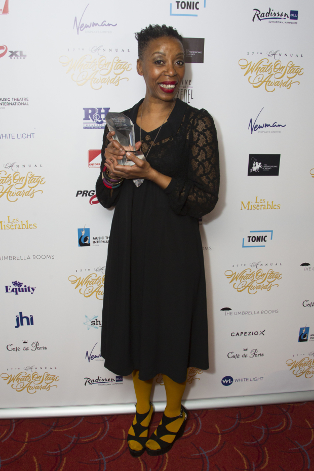 <p>Noma Dumezweni accepts the award for Best Supporting Actress in for <em>Harry Potter and the Cursed Child</em></p><br />© Dan Wooller for WhatsOnStage