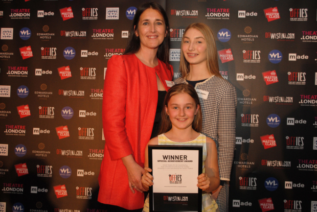 <p>Special achievement award Sasha Regan from Union Theatre with daughters Bea and Nellie</p><br />© Anthony Ofoegbu
