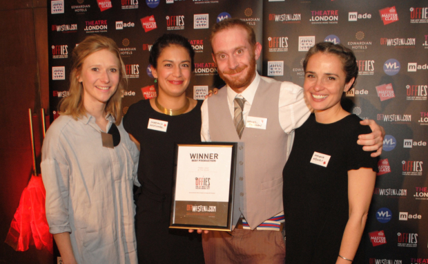 <p>Offie winners for best production <em>Thebes Land</em> at The Arcola (Jemima Robinson, Mariana Aristizabal, Daniel Goldman, Malena Arcucci)</p><br />© Anthony Ofoegbu
