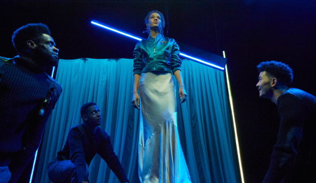 <p>Okorie Chukwu as Othello, Ronald Nsubuga as Cassio, Ayoola Smart as Desdemona and Lawrence Walker as Iago</p><br />© Graham Michael