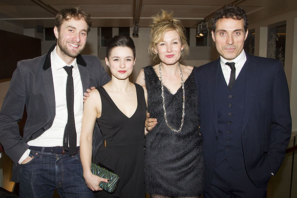 <p>Oliver Chris (Dan), Rachel Redford (Alice), Nancy Carroll (Anna) and Rufus Sewell (Larry)</p><br />© Dan Wooller for WhatsOnStage
