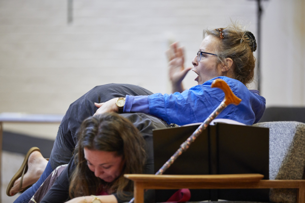 <p>Olivia Colman and Amanda Boxer in rehearsals for <em>Mosquitoes</em></p><br />© Brinkhoff/Moegenburg