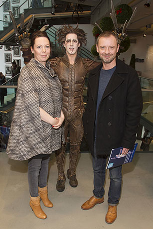 <p>Olivia Colman, Dominic North (Edward Scissorhands) and John Simm</p><br />© Dan Wooller for WhatsOnStage
