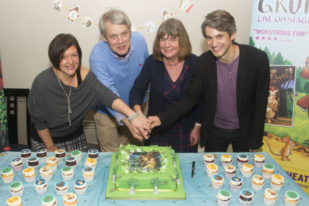 <p>Olivia Jacobs (Director), Axel Scheffler (Ilustrator), Julia Donaldson (Author) and Toby Mitchell (Creative Producer) at <em>The Gruffalo&#39&#x3B;s</em> 15th birthday</p><br />© �Dan Wooller