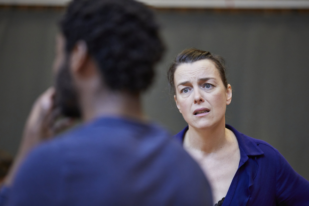 <p>Olivia Williams  in rehearsals for <em>Mosquitoes</em></p><br />© Brinkhoff/Moegenburg