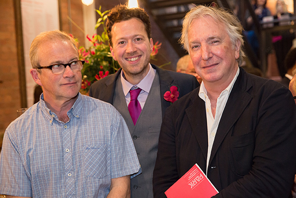 <p>Park Theatre AD Jez Bond photobombs Harry Enfield and Alan Rickman</p><br />© Mark Douet