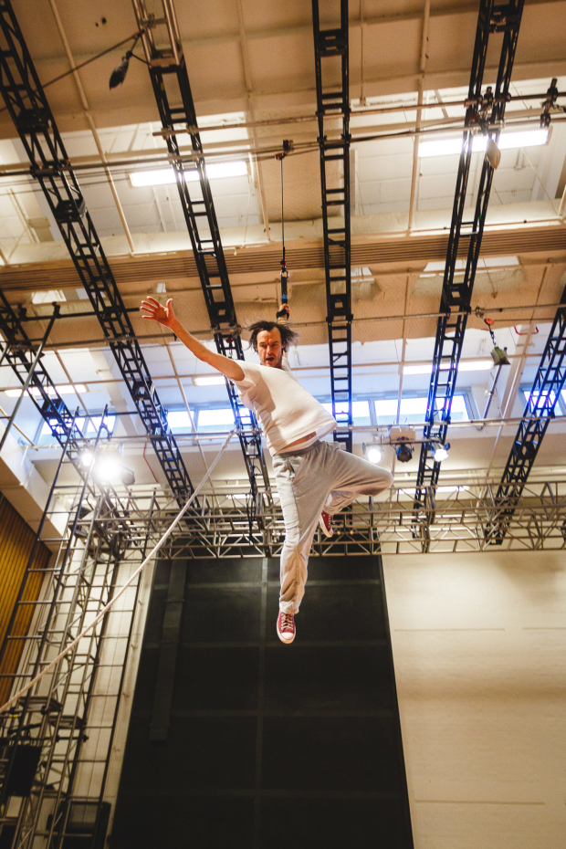 <p>Paul Hilton (Peter Pan) rehearses flying for <em>Peter Pan</em></p><br />© Steve Tanner 2016