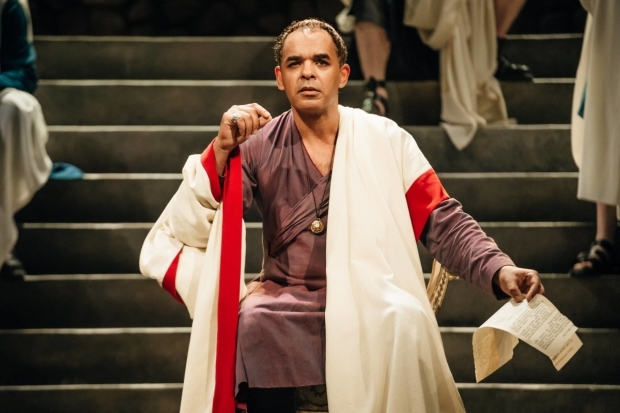 <p>Peter De Jersey as Julius Caesar in <em>Imperium Part I: Conspirator</em></p><br />Ikin Yum © RSC