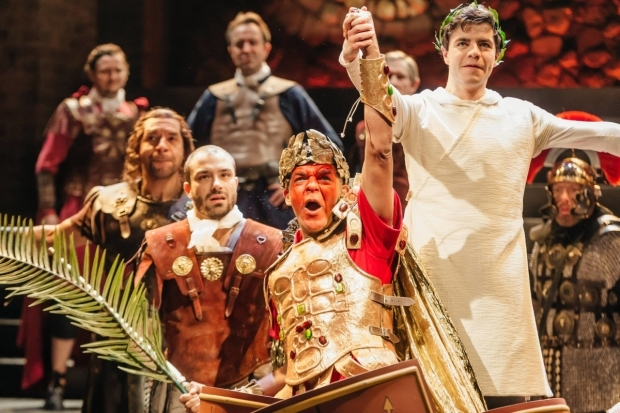 <p>Peter de Jersey as Julius Caesar, Oliver Johnstone as Octavian, Jay Saighal as Decimus and Joe Dixon as Antony in <em>Imperium Part II: Dictator</em></p><br />Ikin Yum © RSC