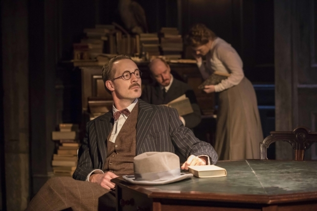 <p>Peter McDonald (James Joyce), Forbes Masson (Lenin) and Clare Foster (Cecily) in <em>Travesties</em></p><br />© Johan Persson