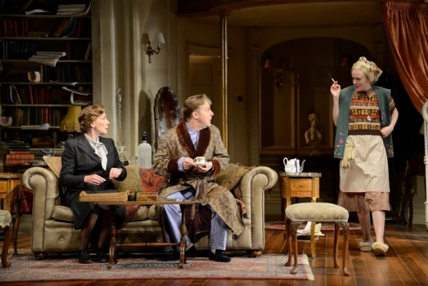 <p>Phyllis Logan as Monica Reed, Samuel West as Garry Essendine and Sally Tatum as Miss Erikson</p><br />© Nobby Clark
