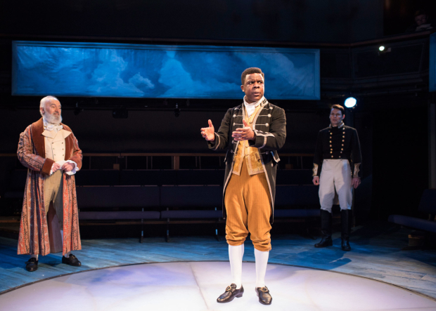 <p>Pip Donaghy, Ashley Zhangazha and Tam Williams  in <em>The Lottery of Love</em></p><br />© Helen Maybanks