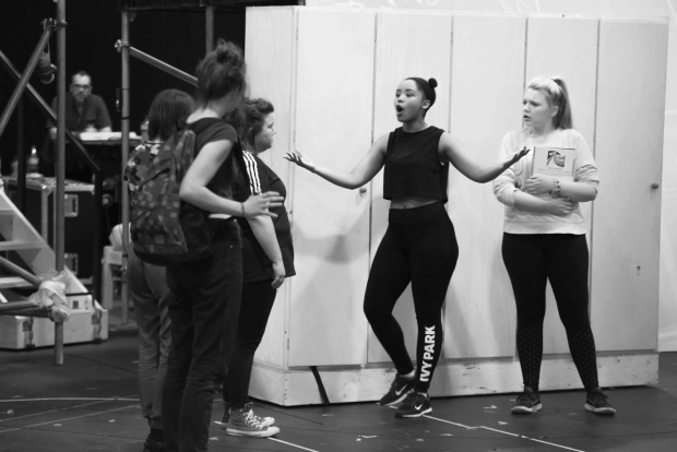 <p>Rachelle Diedericks as Debbie (centre) &amp&#x3B; Katy Clayton as Young Heather</p><br />© Matt Crockett