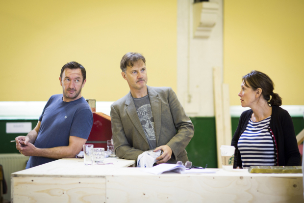 <p>Ralph Ineson (Inspector Fry), David Morrissey (Harry) and Sally Rogers (Alice)</p><br />© Johan Persson