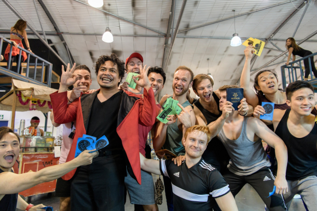 <p>Red Concepcion (The Engineer) and company of <em>Miss Saigon</em> in rehearsals</p><br />© Manuel Harlan