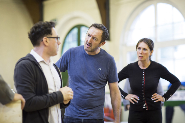 <p>Reece Shearsmith (Syd), Ralph Ineson (Inspector Fry) and Sally Rogers (Alice</p><br />© Johan Persson