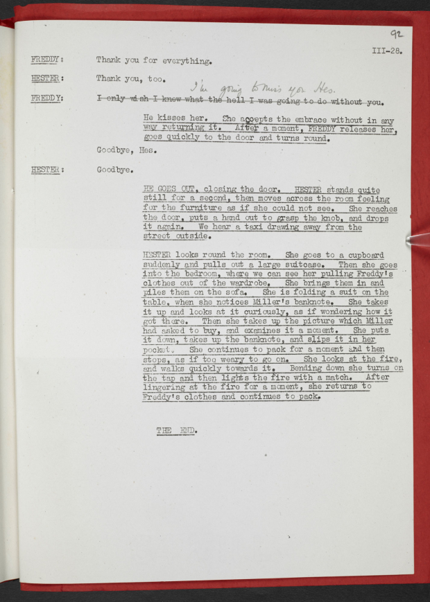 <p>Rehearsal script for The Deep Blue Sea by Terence Rattigan </p><br />©The British Library Board/ The Sir Terence Rattigan Charitable Trust