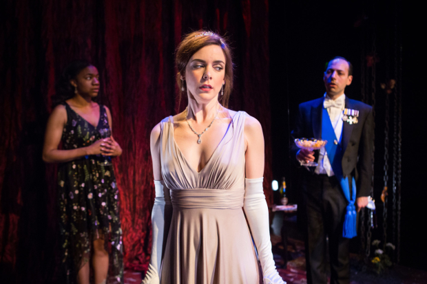 <p>Rhiann Francis as Charlotte, Fiona Sheehan as Daisy and Philip Arditti as the Prince  in <em>The Hunting Lodge</em></p><br />© Helen Murray