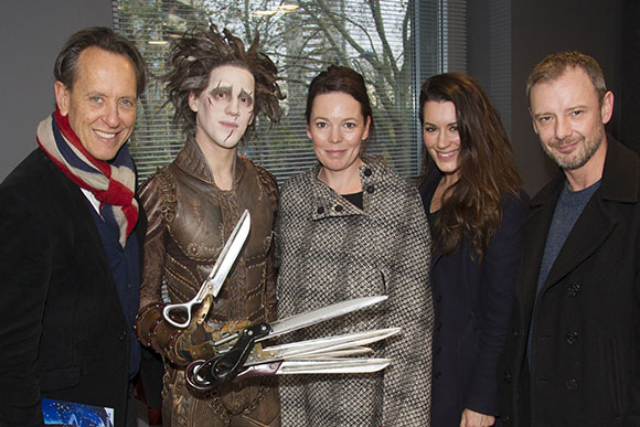 <p>Richard E Grant, Dominic North (Edward Scissorhands), Olivia Colman, Kate Magowan and John Simm</p><br />© Dan Wooller for WhatsOnStage