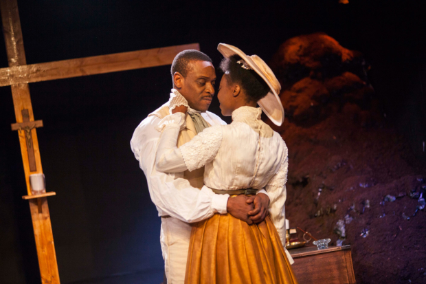 <p>Richard Pepple (Chancellor) and Joan Iyiola (Prudence) in <em>The Convert</em></p><br /> © Iona Firouzabadi